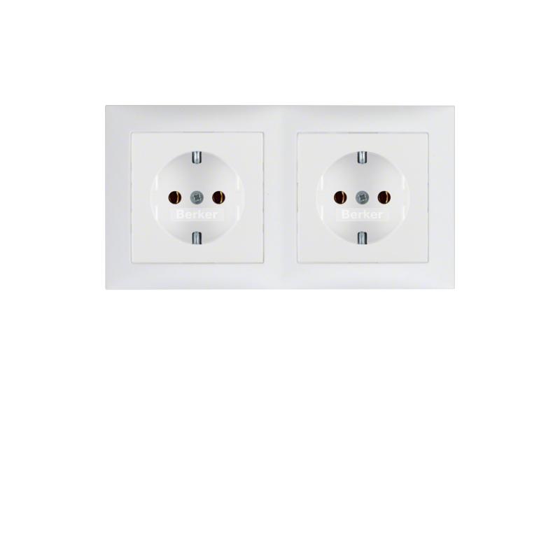 berker 47209909 s1 schuko steckdose kombination 2fach mit rahmen polarwei matt elektrik store. Black Bedroom Furniture Sets. Home Design Ideas