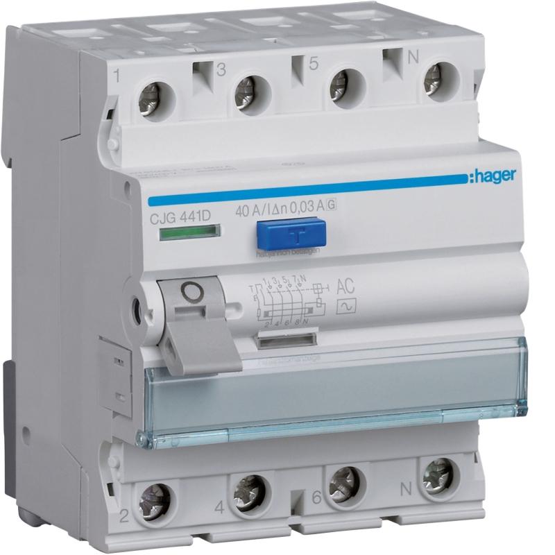Hager CJG441D FI-Schalter 4P 40A 30mA G/AC-VS