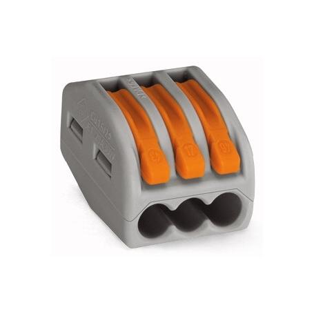 Wago 222-413 Verbindungsklemme; 3-Leiter-Klemme; mit Betätigungshebeln; max. Dauergebrauchstemperatur 85 °C