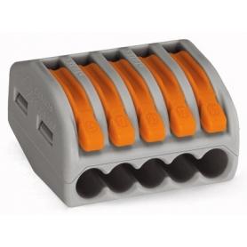 Wago 222-415 Verbindungsklemme; 5-Leiter-Klemme; mit Betätigungshebeln; max. Dauergebrauchstemperatur 85 °C