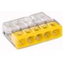 Wago 2273-205 COMPACT-Verbindungsdosenklemme; 5-Leiter-Klemme; Gehäusefarbe transparent; Deckelfarbe gelb