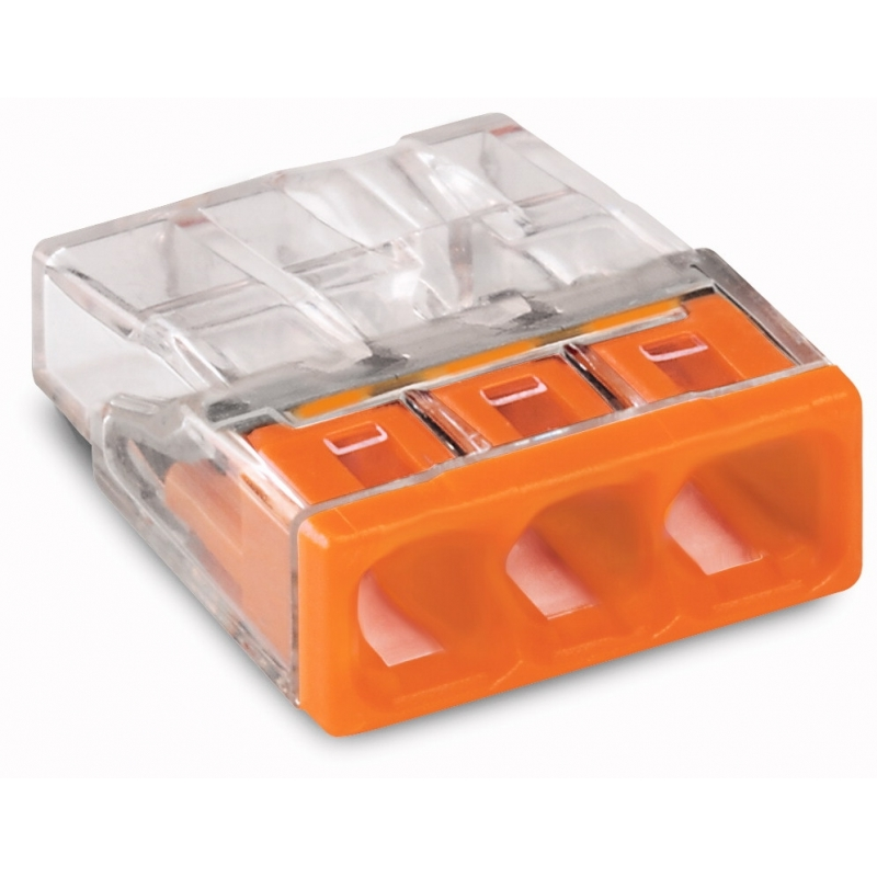 Wago 2273-203 COMPACT-Verbindungsdosenklemme; 3-Leiter-Klemme; Gehäusefarbe transparent; Deckelfarbe orange