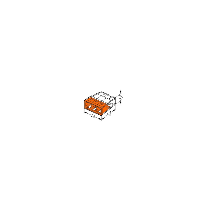 wago 2273 203 compact verbindungsdosenklemme 3x 0 5 2 5 orange 100 st ck elektrik store. Black Bedroom Furniture Sets. Home Design Ideas