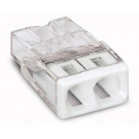 Wago 2273-202 COMPACT-Verbindungsdosenklemme; 2-Leiter-Klemme; Gehäusefarbe transparent; Deckelfarbe weiß 100 Stück