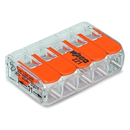 Wago 5Leiter-Klemme COMPACT transparent Bedienhebel 25 Stück