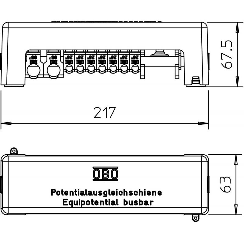 Top OBO BETTERMANN 1801 VDE Potentialausgleichsschiene 217mm, CuZn SR67