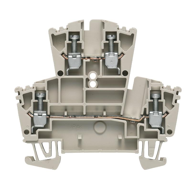 Weidmüller WDK 2.5 Mehrstock-Reihenklemme, Schraubanschluss, 2.5 mm², 400 V, 24 A, Etagen: 2, dunkelbeige 1021500000