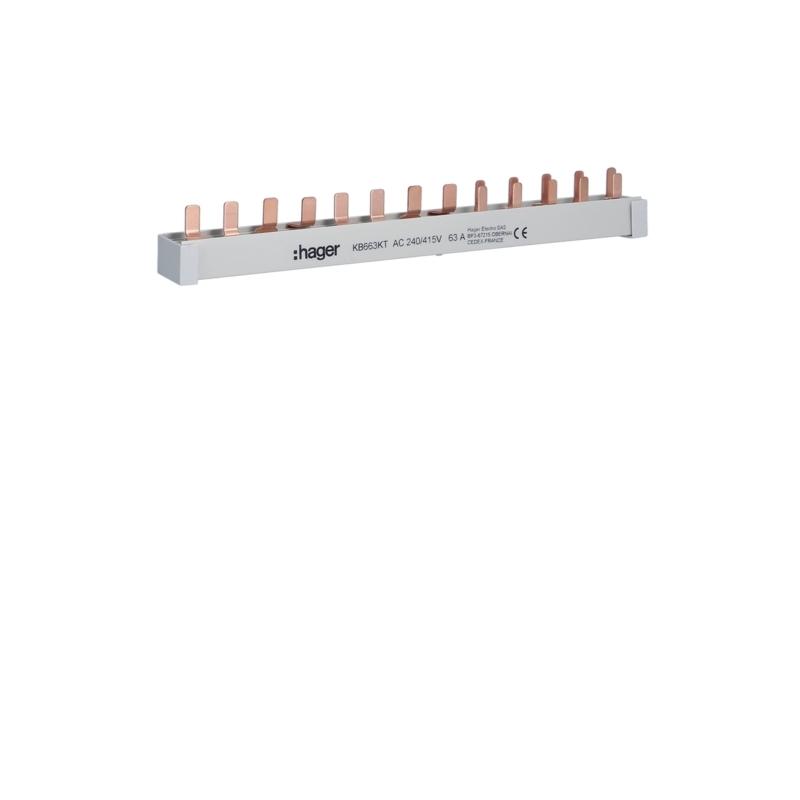 Hager KB663KT Stiftschiene 1FI-4P+1LS-3+N+5LS-1+N/1PLE