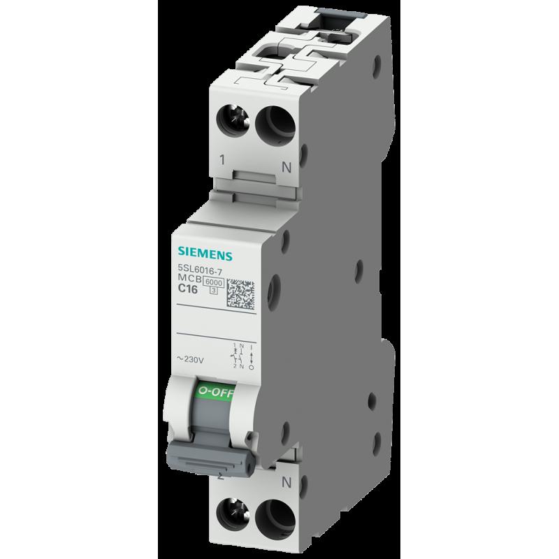 Siemens 5SL6016-7 Leitungsschutzschalter 230V 6KA, 1+N-Polig/1TE C16