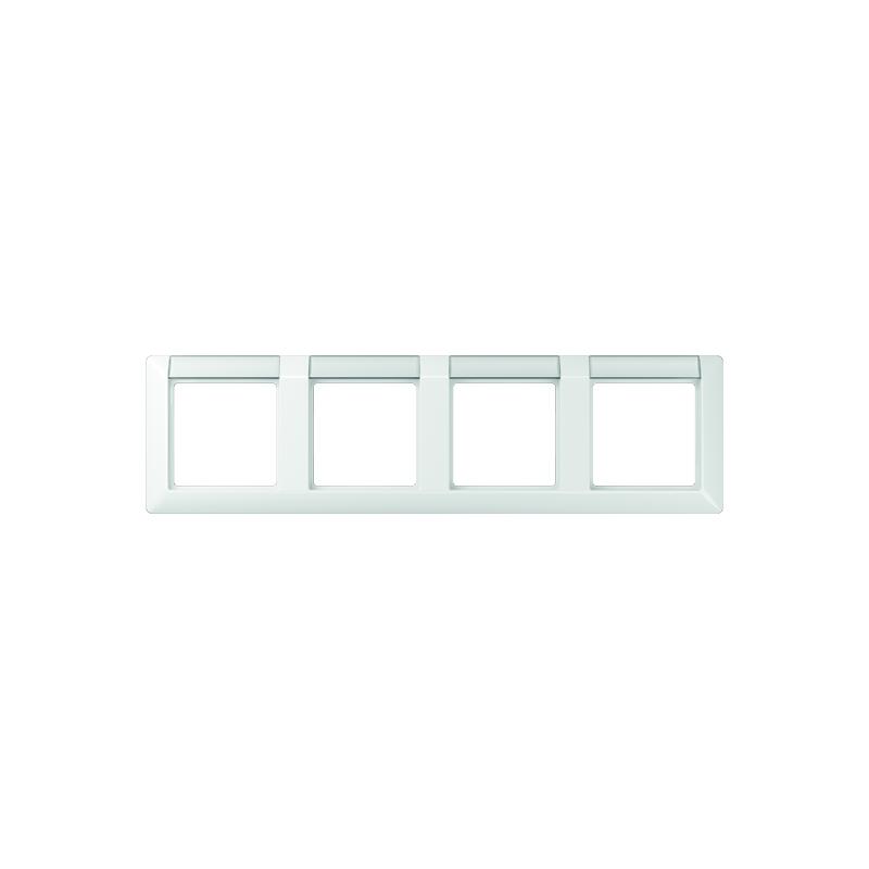 Jung AS 5840 NA WW Rahmen, 4fach, Schriftfelder 13 x 55,5 mm (BB 20.1), für waagerechte Kombination