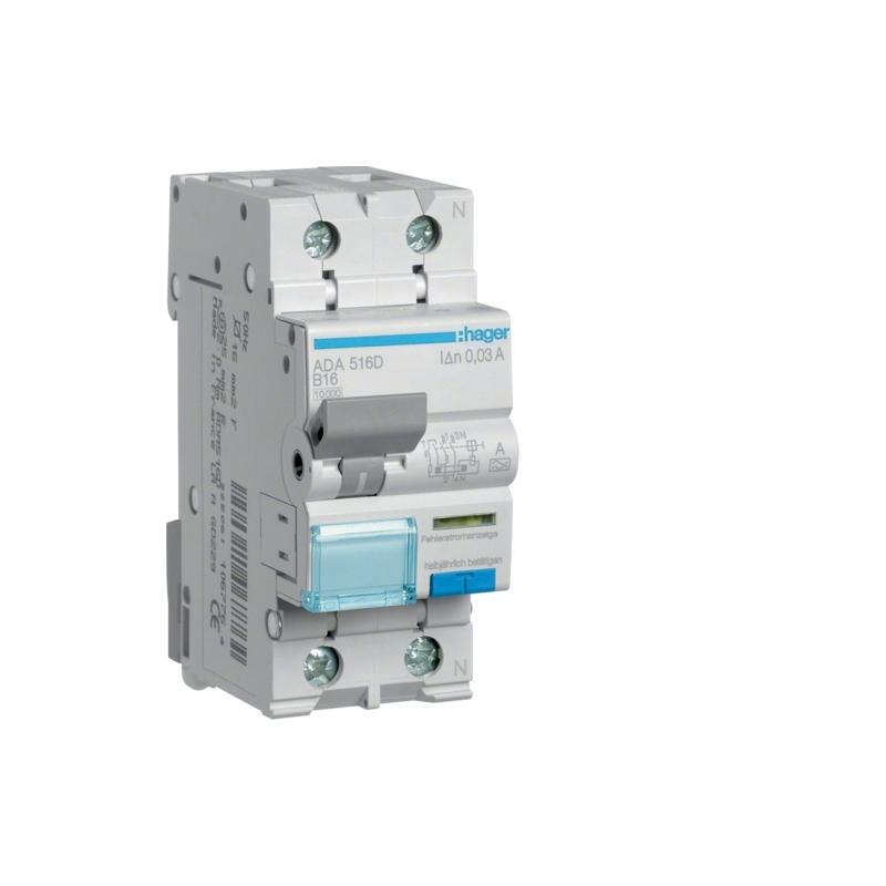 Hager ADA516D Fehlerstrom-Leitungsschutzschalter 1P+N 10kA B-16A 30mA Typ A